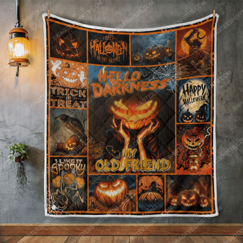 Hello darkness my old friend pumpkin halloween blanket 2