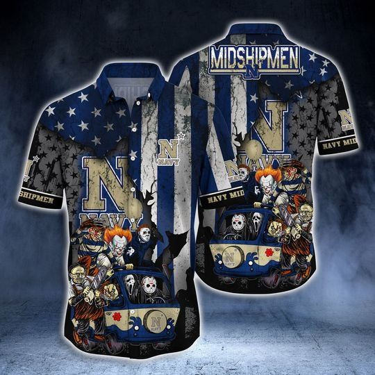 Horror movies Navy Midshipmen hawaiian shirt -BBS