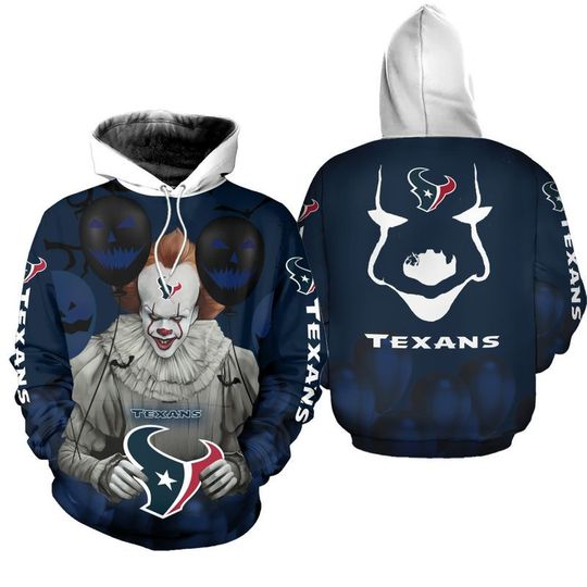 Houston texans pennywise the dancing clown it halloween 3d all over print hoodie - LIMITED EDITION