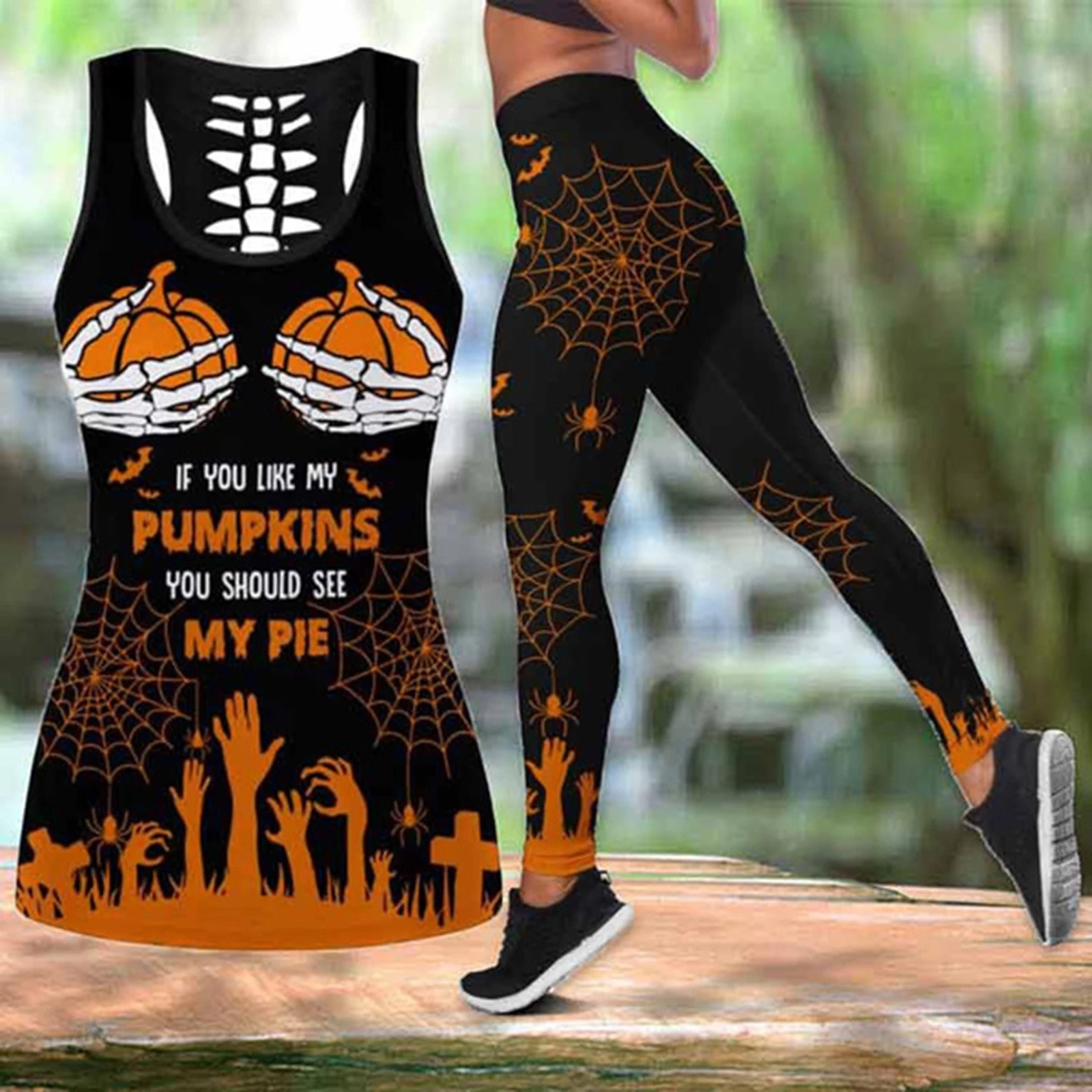 If you like my pumpkins you should see my pie halloween legging and hollow tank top - Hothot 160821