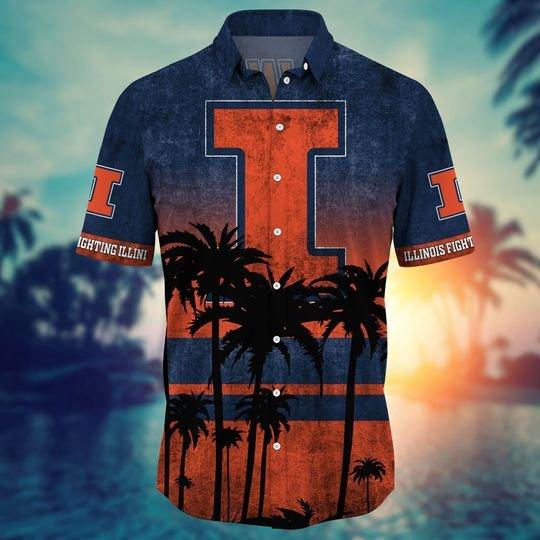 Illinois Fighting Illini Summer Hawaiian Shirt, short -BBS