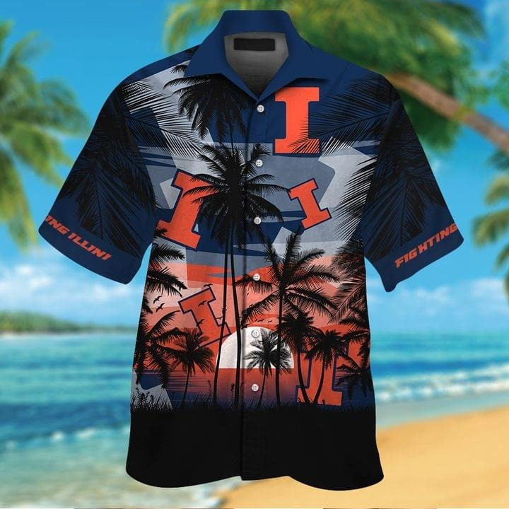 Illinois Fighting Illini Tropical Short Sleeve Hawaiian Shirt