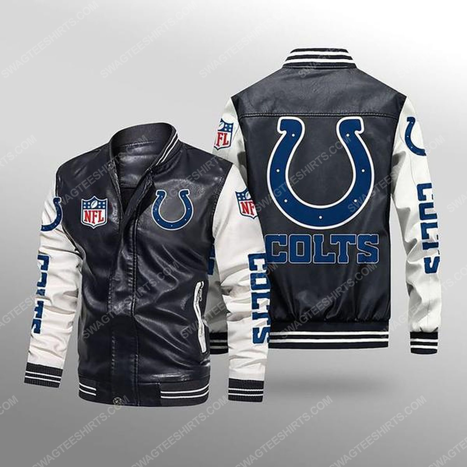 Indianapolis colts all over print leather bomber jacket - white