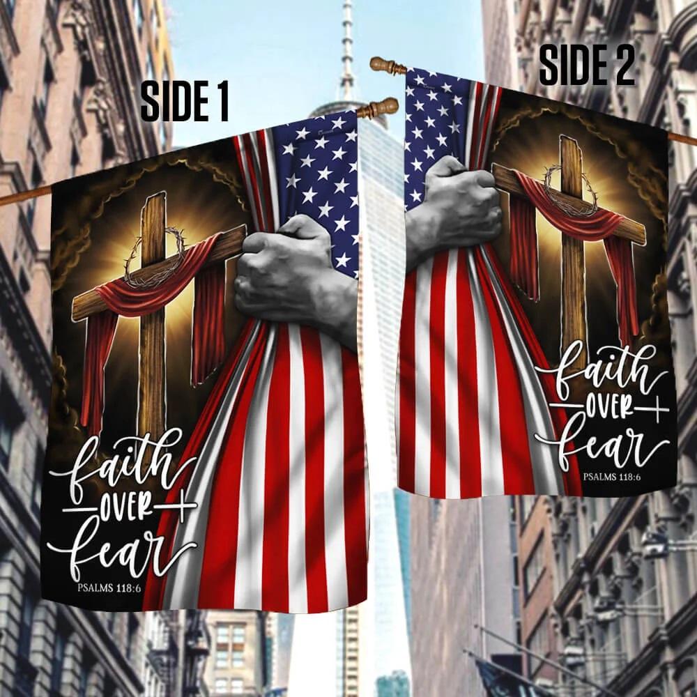 Jesus Flag Christian cross faith over fear American flag