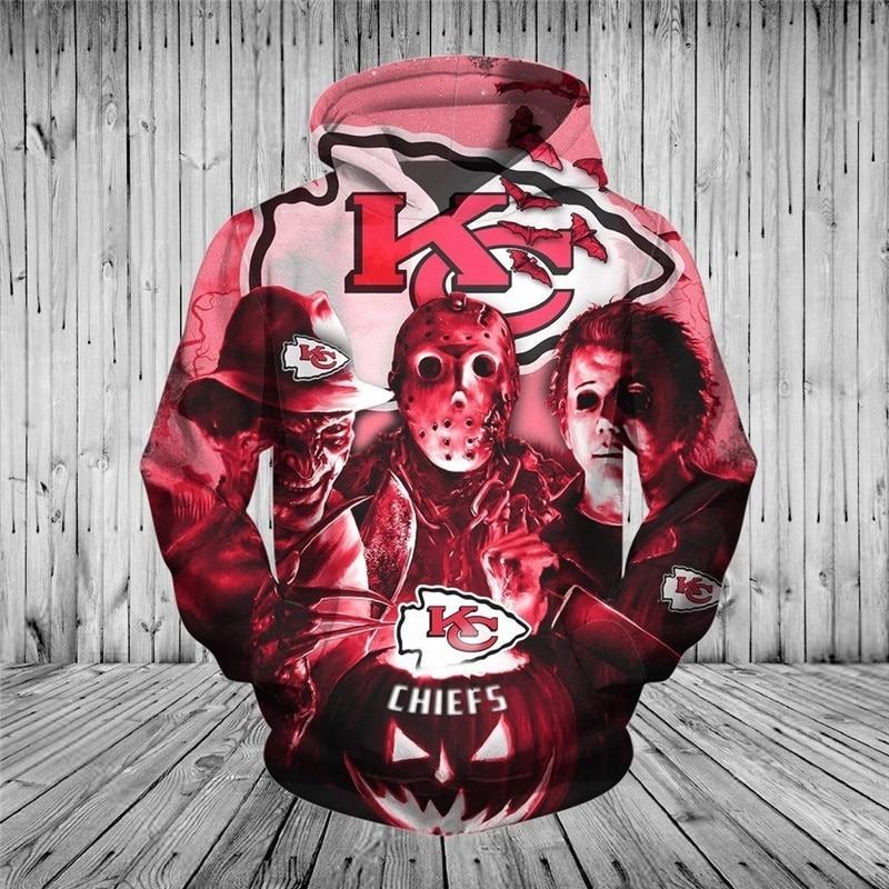 [Hot Trend] Kansas City Chiefs Halloween Horror Night 3D Pullover Hoodie - Hothot 050921