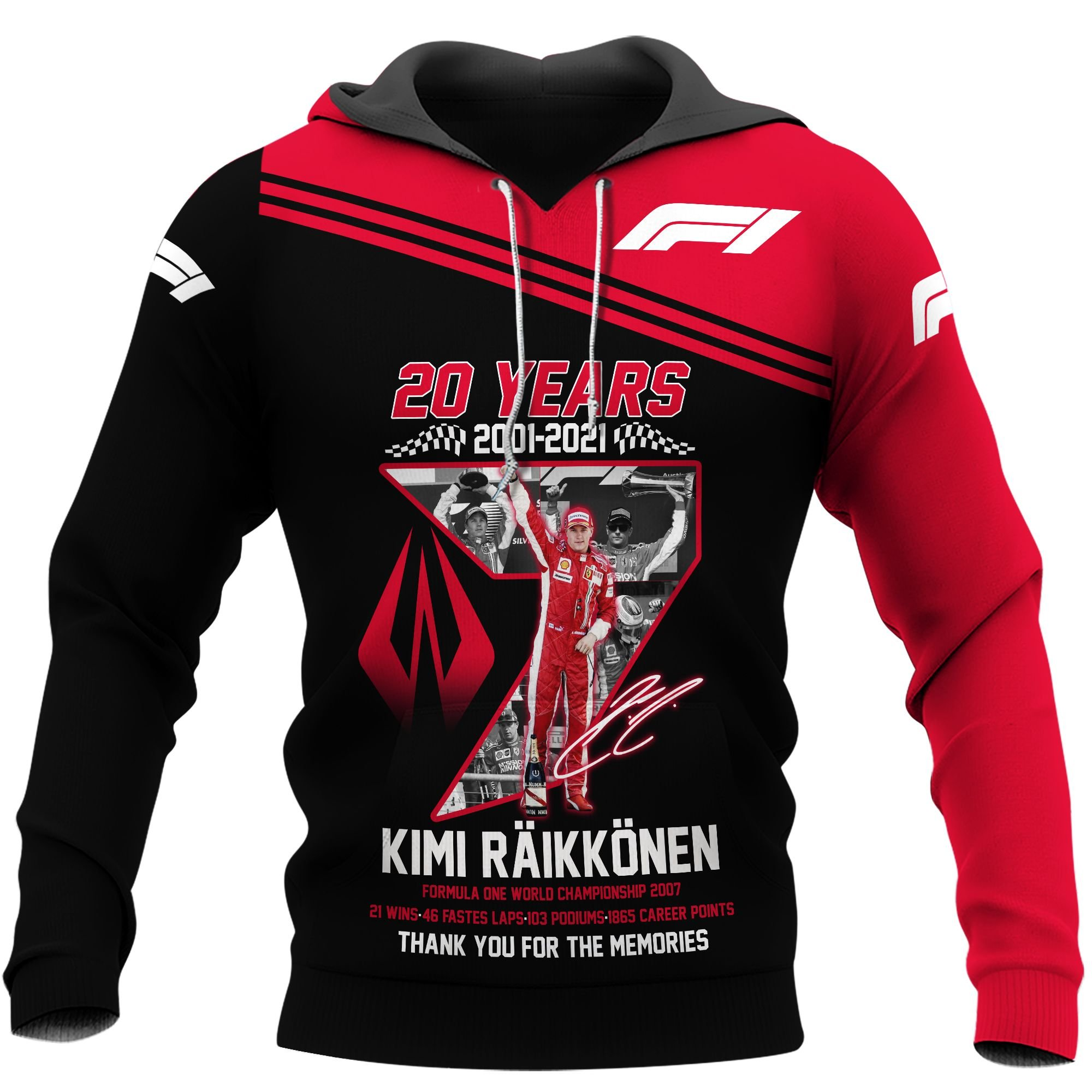 Kimi Raikkonen 20 years thank you for the memories 3d hoodie - LIMITED EDITION