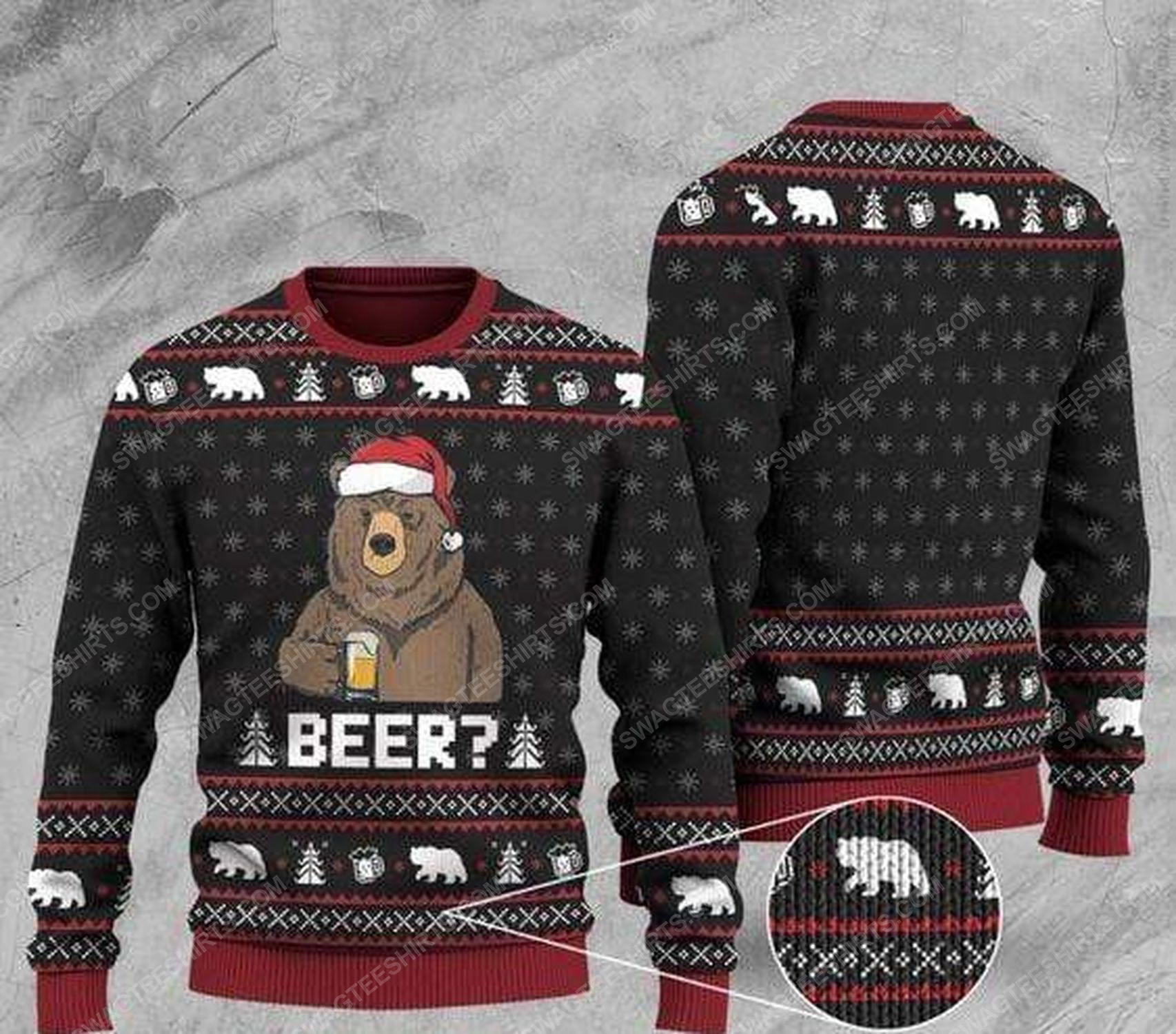 Bear with beer all over print ugly christmas sweater 1