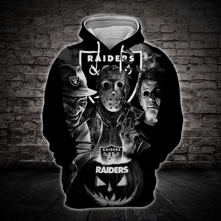 [Hot Trend] Las Vegas Raiders Halloween Horror Night 3D Pullover Hoodie - Hothot 050921