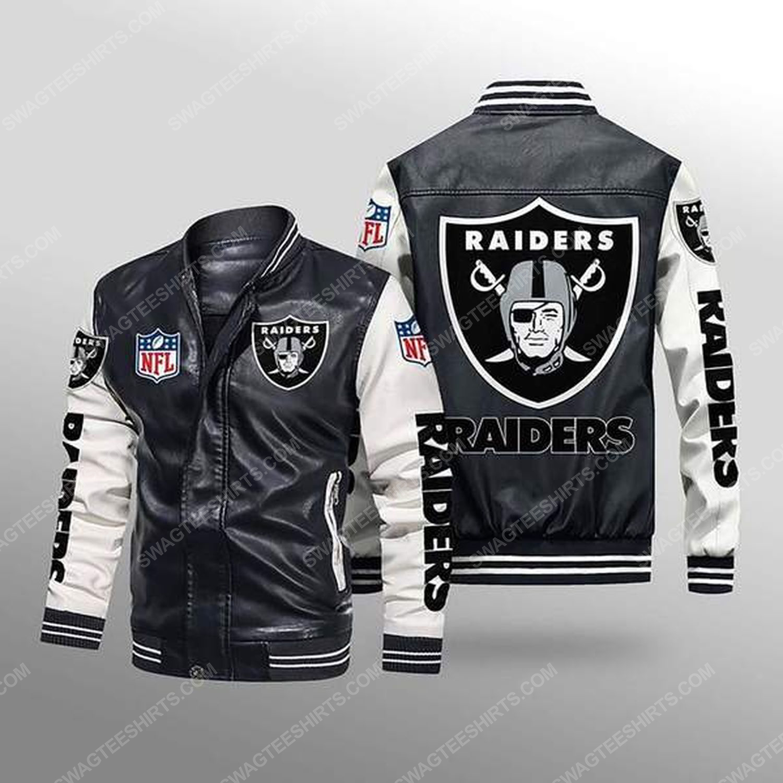 Las vegas raiders all over print leather bomber jacket - white