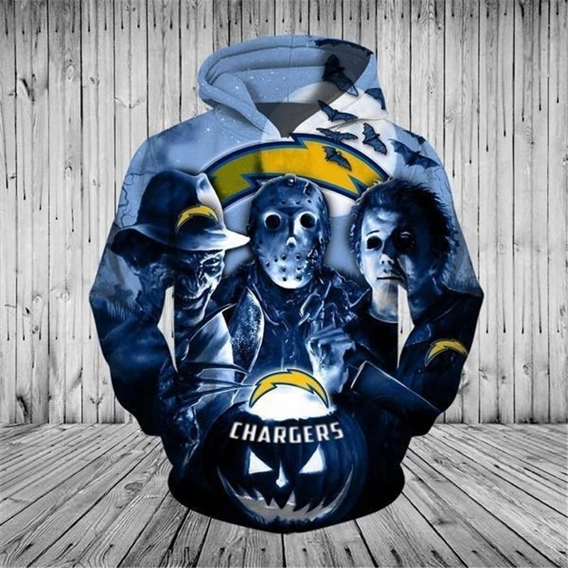[Hot Trend] Los Angeles Chargers Halloween Horror Night 3D Pullover Hoodie  - Hothot 050921