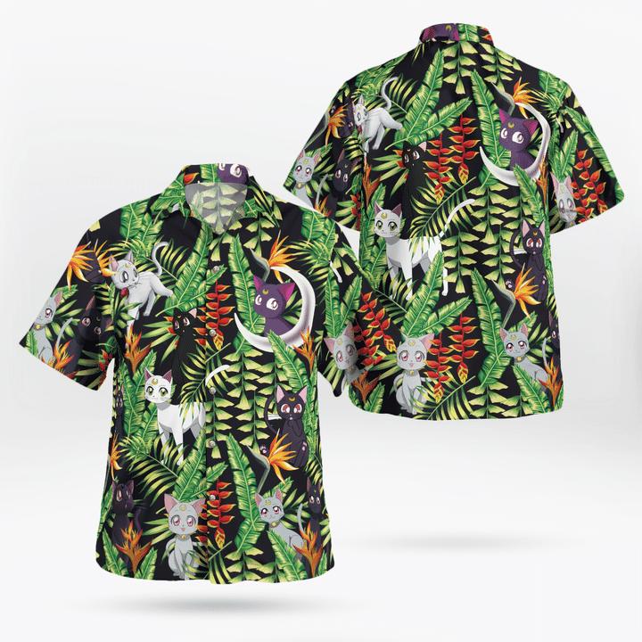 Luna and artemis sailor moon hawaiian shirt