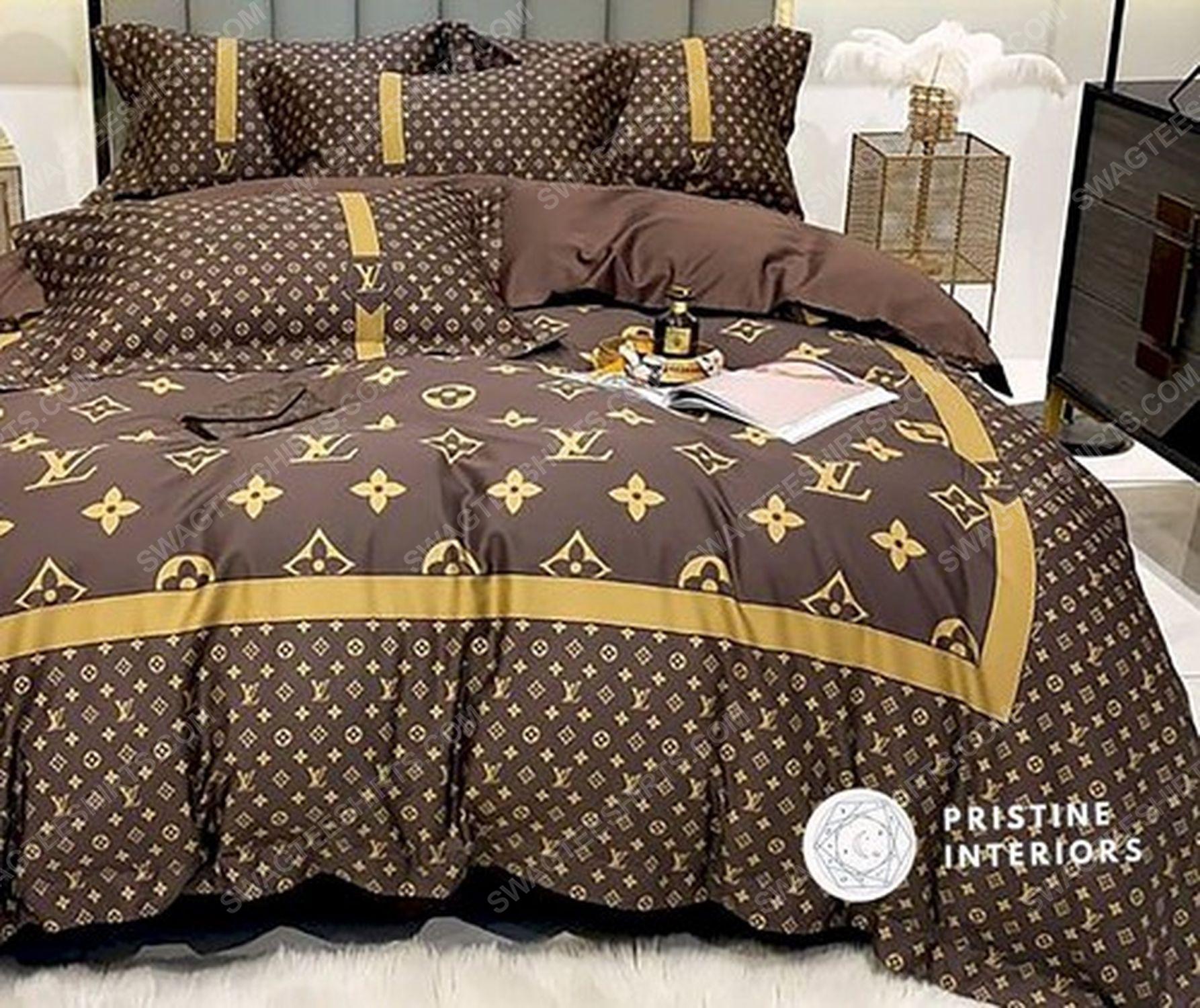 Lv monogram brown version full print duvet cover bedding set 1