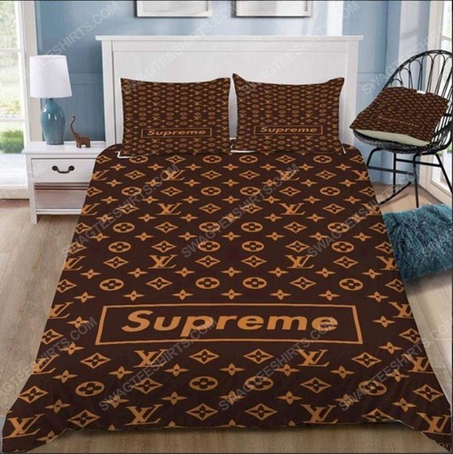 Lv monogram symbols full print duvet cover bedding set 1