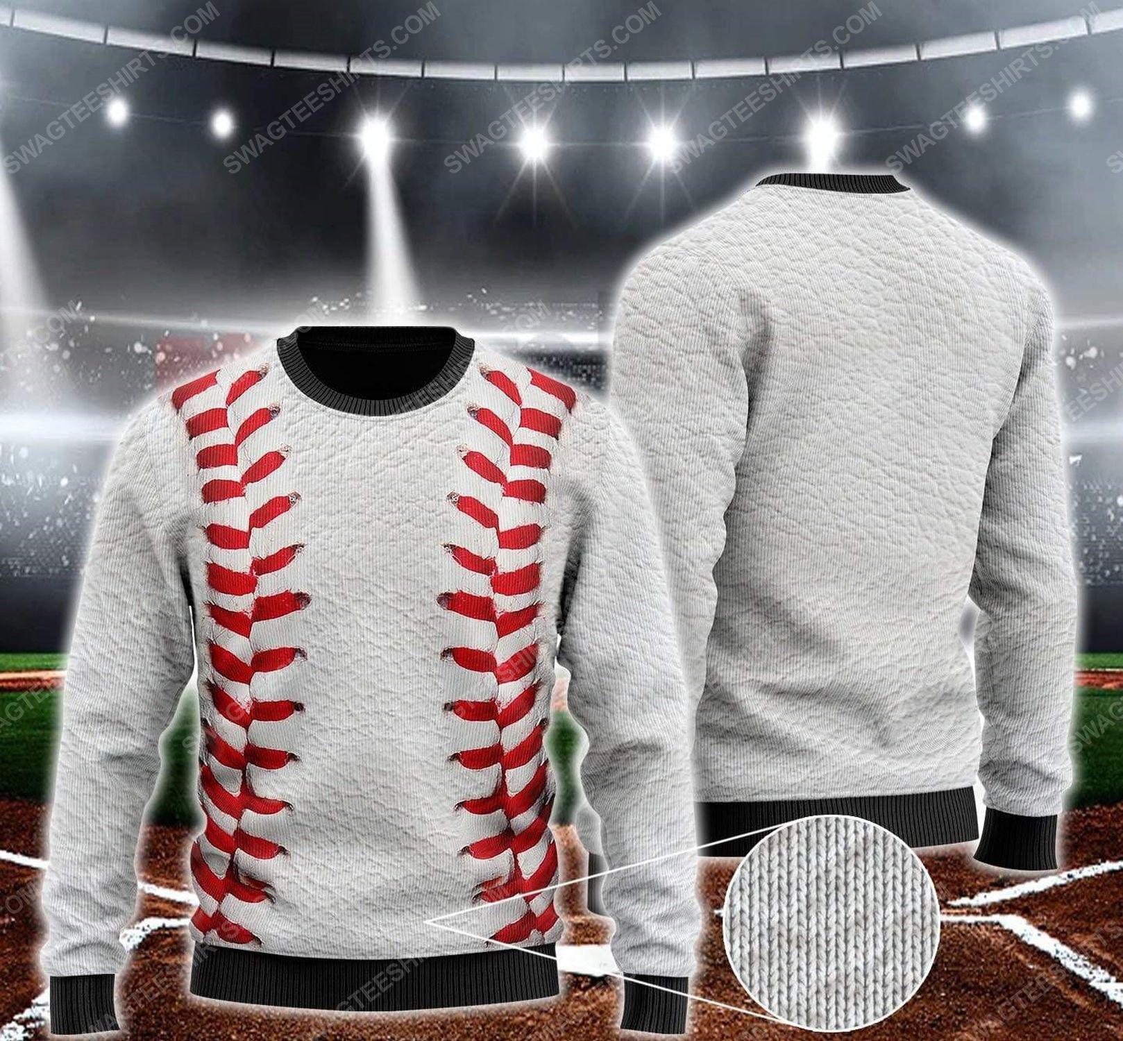 Baseball pattern all over print ugly christmas sweater 1