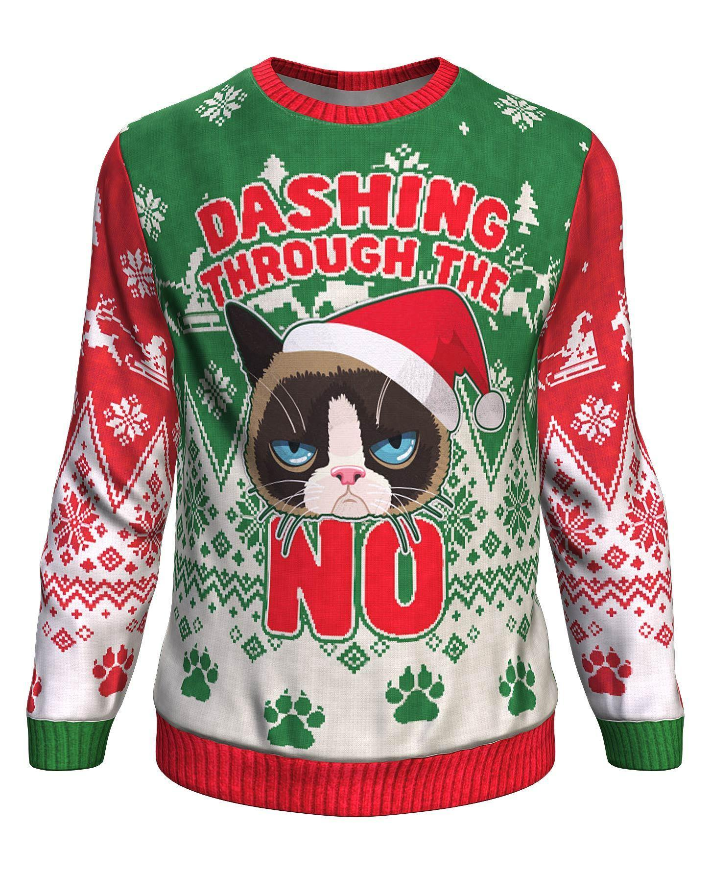 The grumpy cat dashing through the no all over print sweater - maria