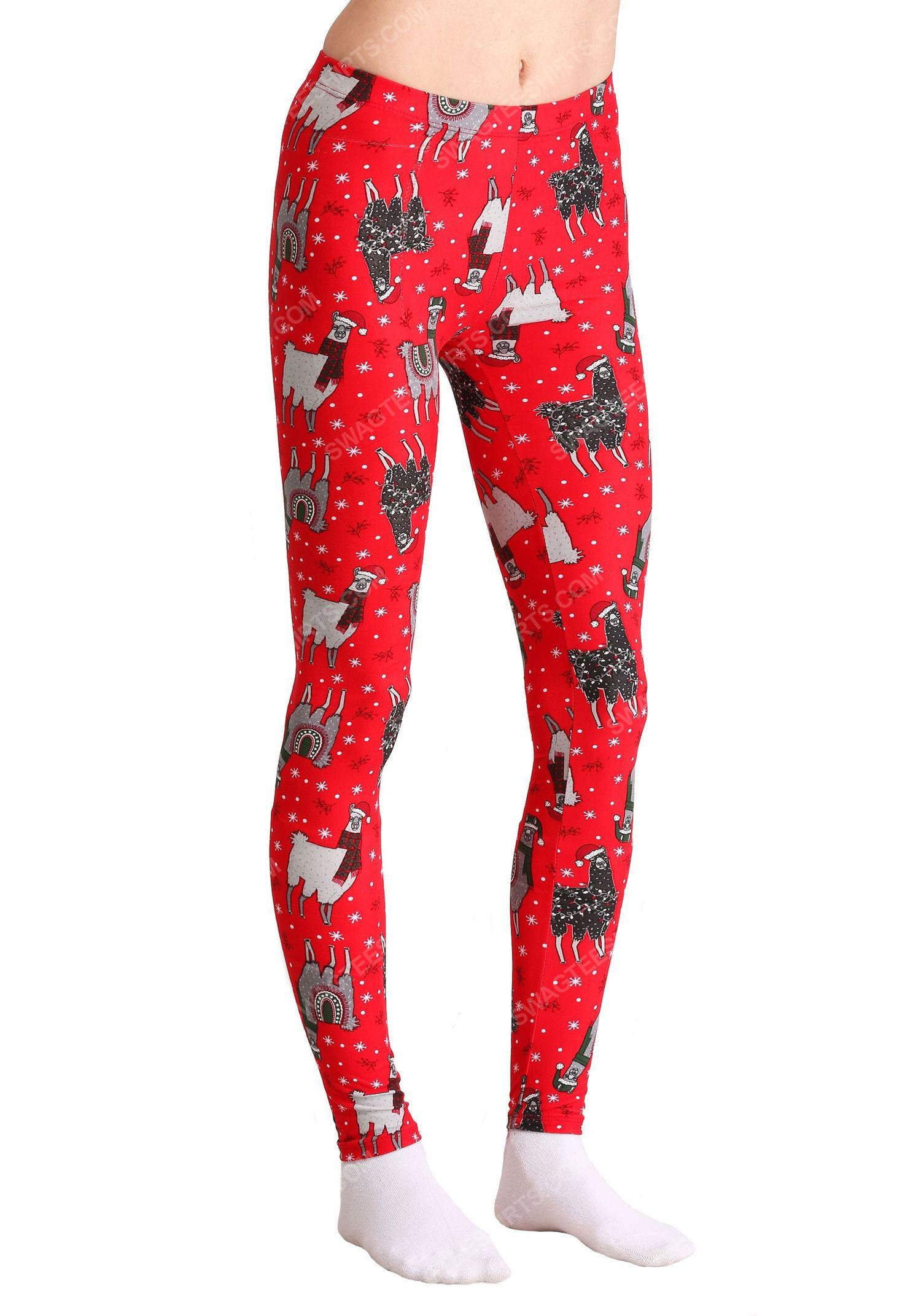 Christmas holiday llama full print leggings 1