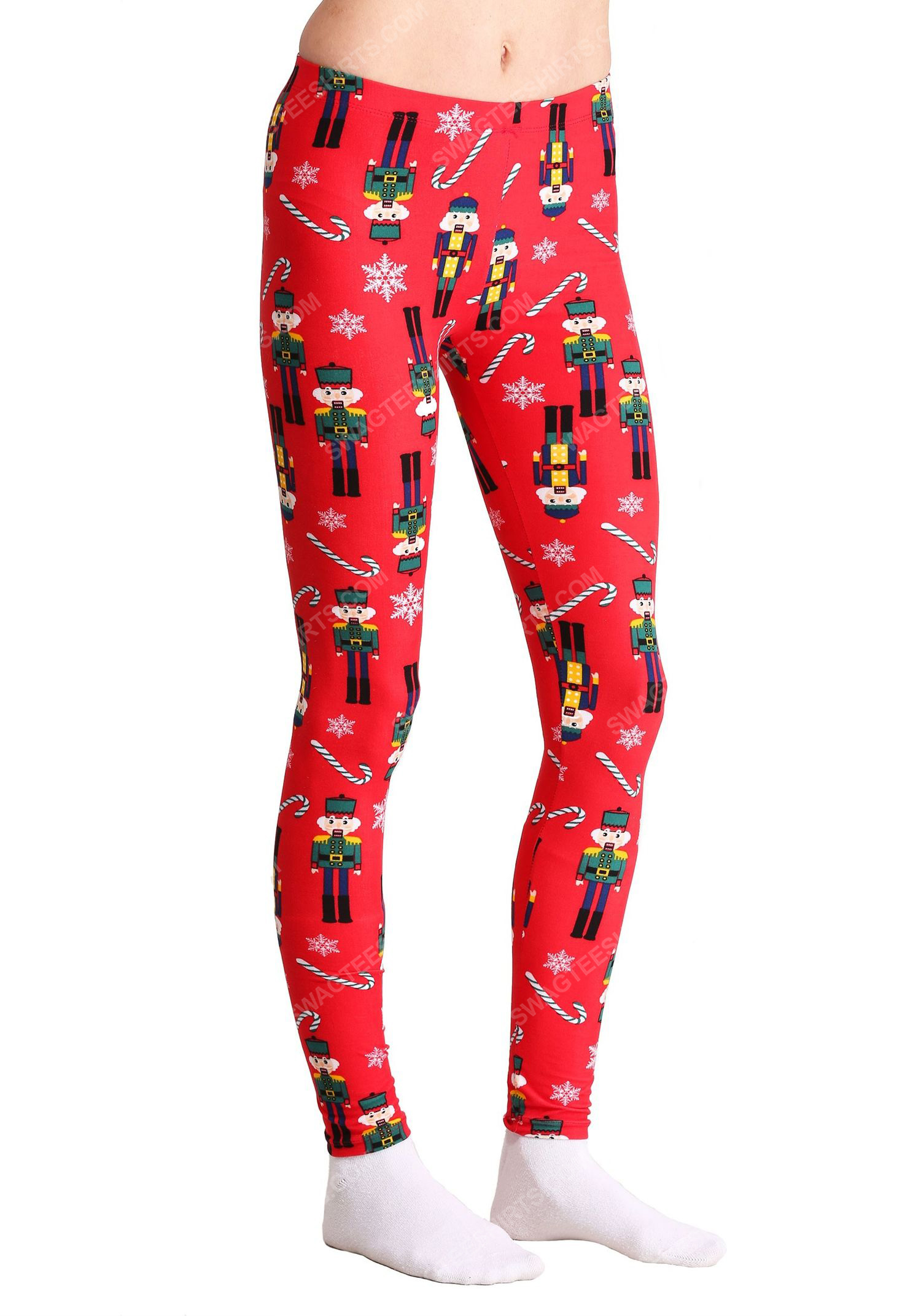 Christmas holiday nutcracker and candy cane pattern full print leggings 1