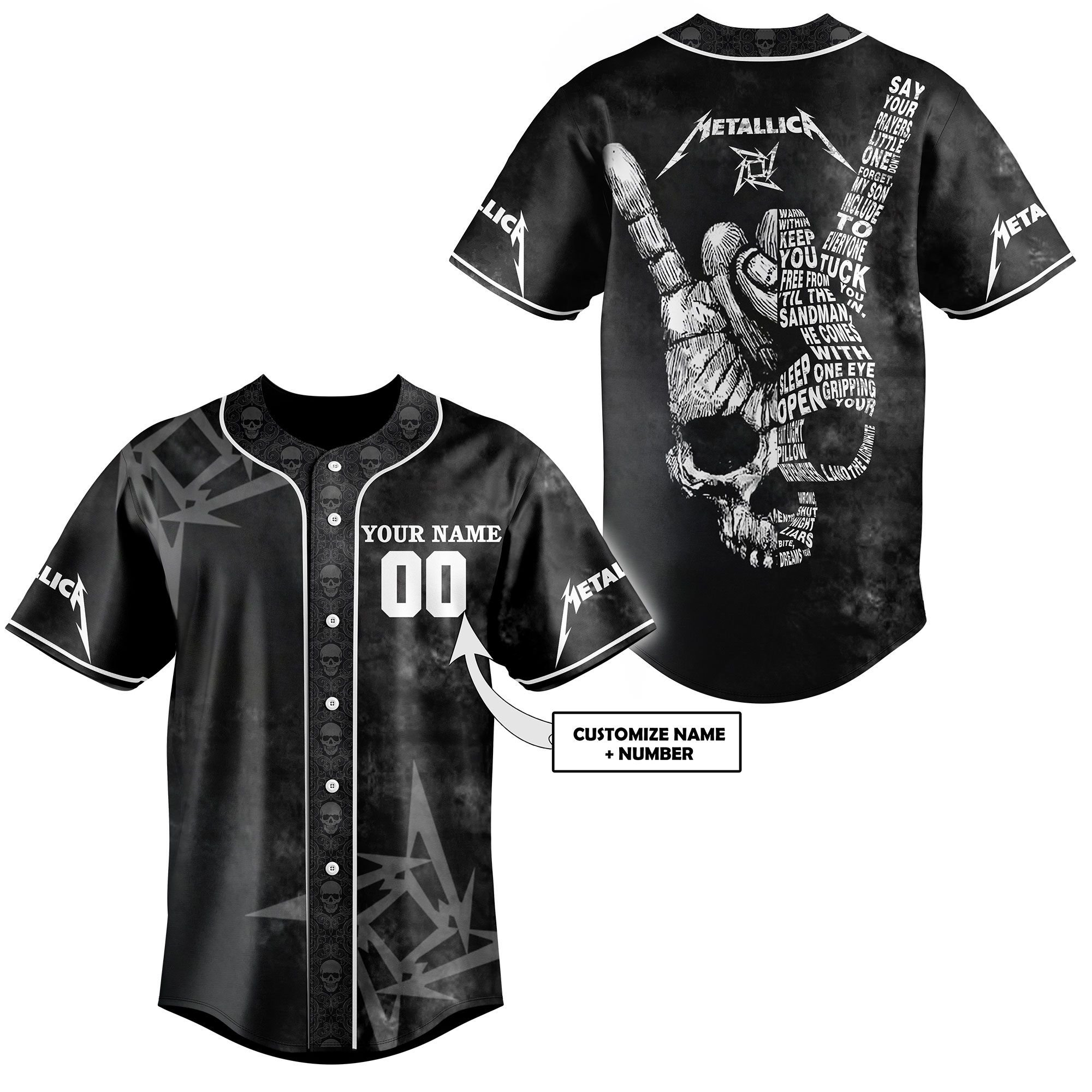 Metalica skull custom name and number baseball jersey - LIMITED EDITION