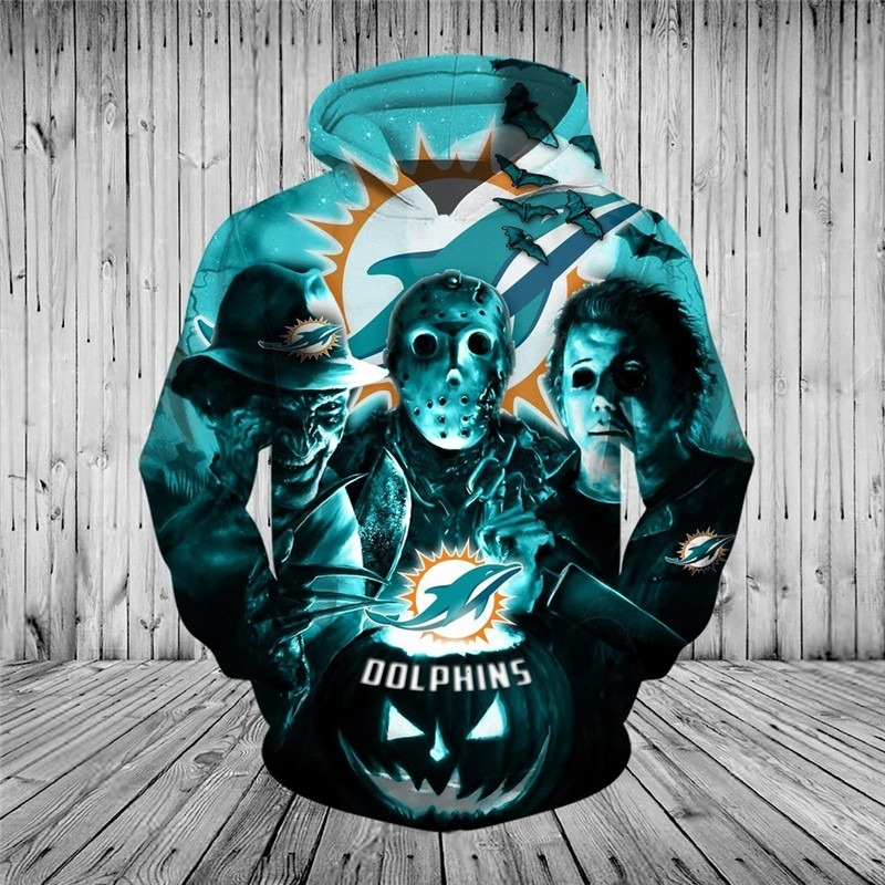 Miami Dolphins Halloween Horror Night 3D Pullover Hoodie