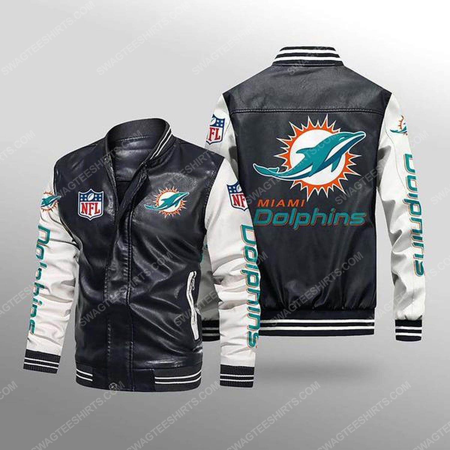 Miami dolphins all over print leather bomber jacket - white