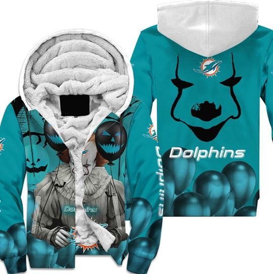 Miami dolphins pennywise the dancing clown it halloween 3d all over print hoodie4