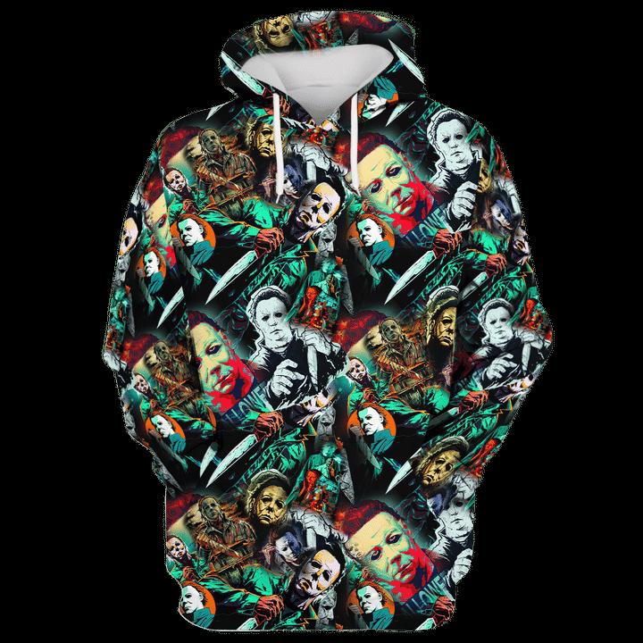 Michael myers horror film hawaiian shirt and 3d hoodie 5