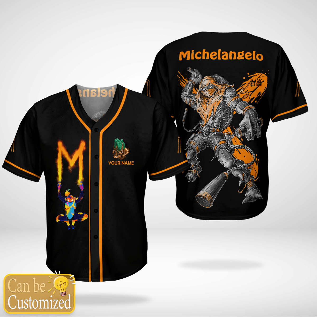 Michelangelo Mikey Custom Name Baseball Jersey - LIMITED EDITION