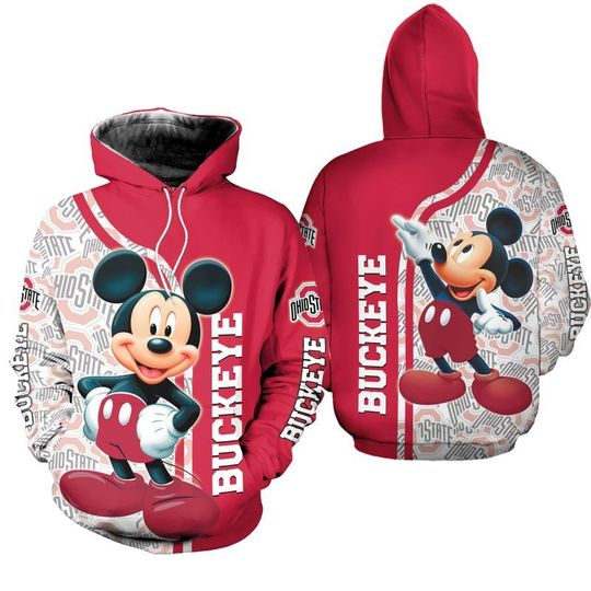 Mickey Mouse Ohio state buckeyes 3d all over print hoodie - LIMITED EDITION