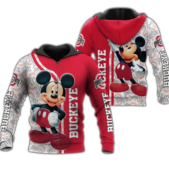 Mickey Mouse Ohio state buckeyes 3d all over print hoodie2