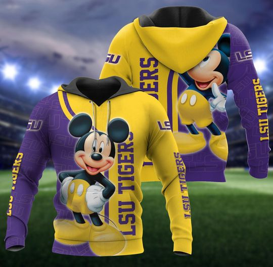 Mickey Mouse lsu tigers 3d all over print hoodie - LIMITED EDITION