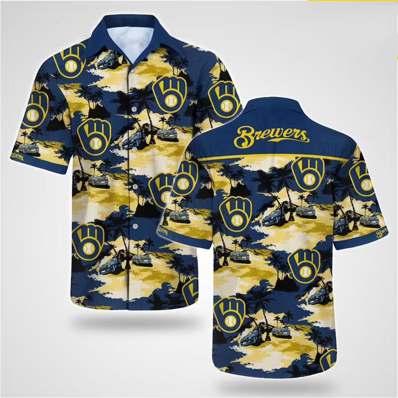 Milwaukee Brewers MLB Floral Hawaiian Short Sleeve Shirt