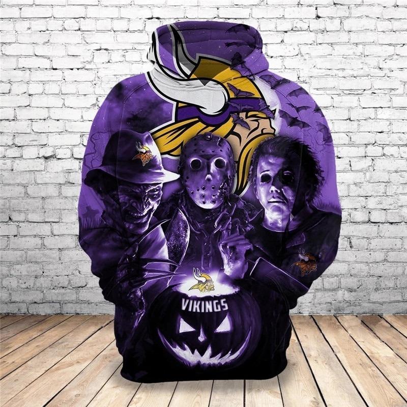 Minnesota Vikings Halloween Horror Night 3D Pullover Hoodie