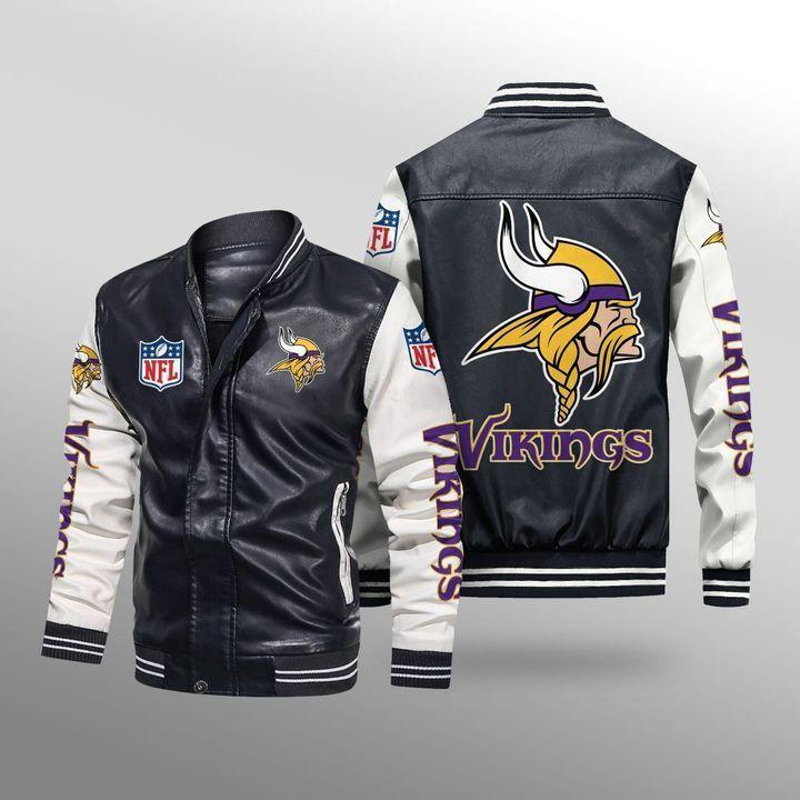 Minnesota Vikings Leather Bomber Jacket - LIMITED EDITION