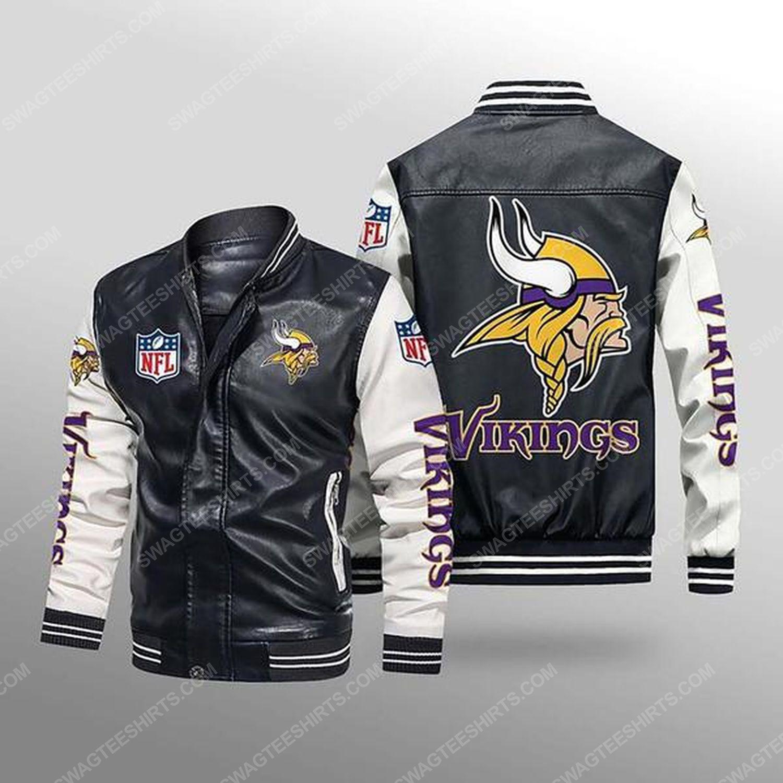 Minnesota vikings all over print leather bomber jacket - white
