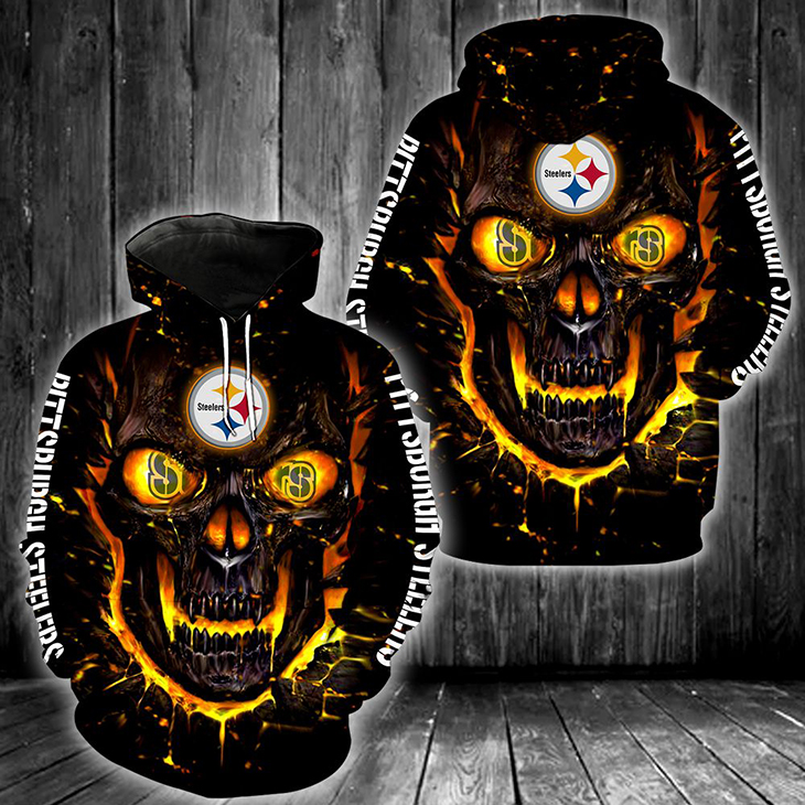 NFL Pittsburgh Steelers Skull 3D Hoodie - LIMITED EDITION