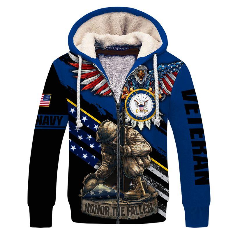 Navy veteran honor the fallen 3d fleece hoodie