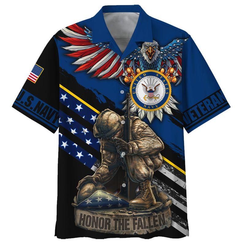 Navy veteran honor the fallen 3d hawaiian shirt