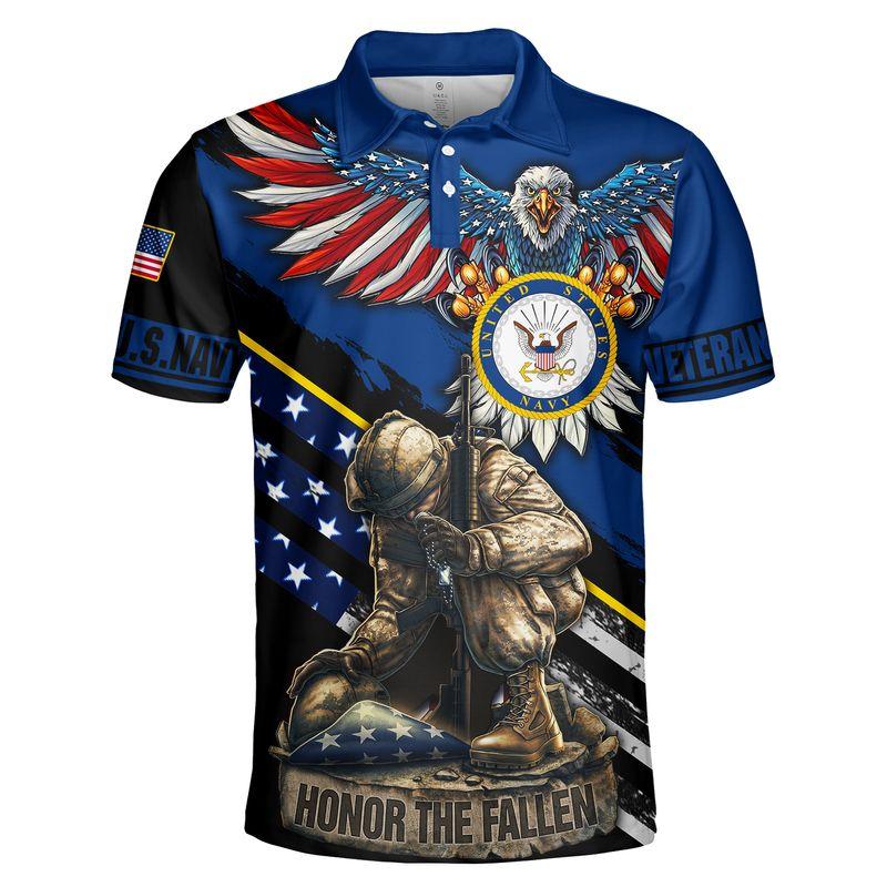 Navy veteran honor the fallen 3d polo shirt