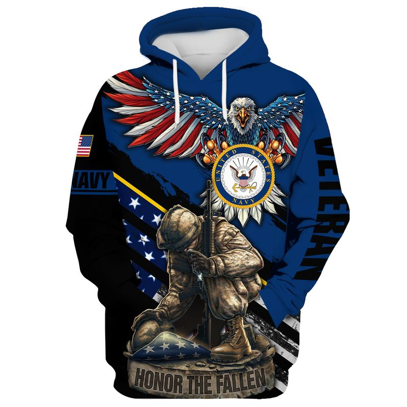 Navy veteran honor the fallen soldier 3d all over printed hoodie