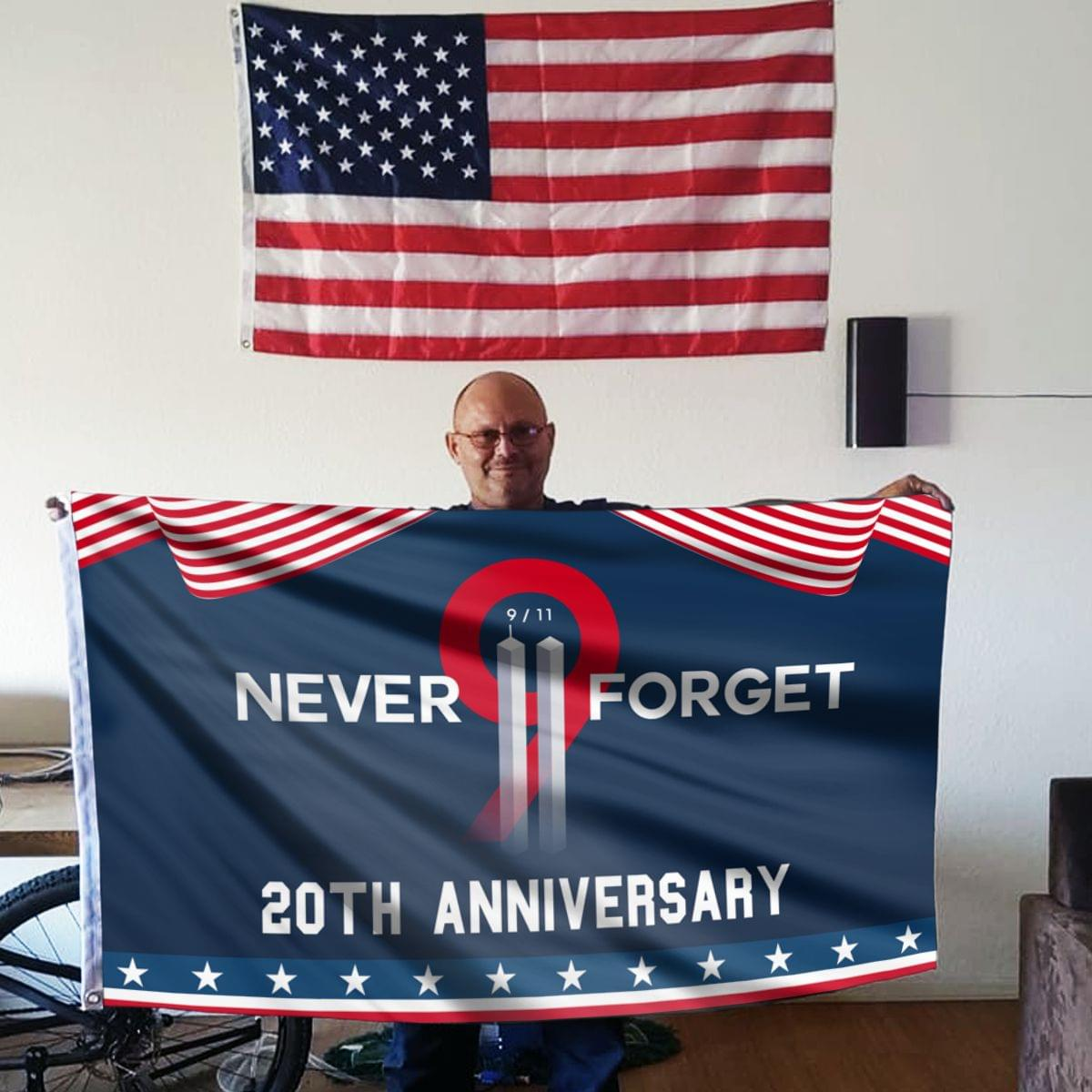 Never Forget 9.11 Two Towers - 20th Anniversary Flag