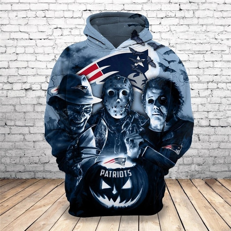 [Hot Trend] New England Patriots Halloween Horror Night 3D Pullover Hoodie - Hothot 050921