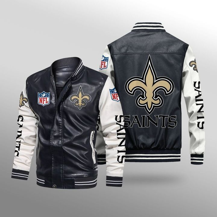 New Orleans Saints Leather Bomber Jacket - LIMITED EDITION