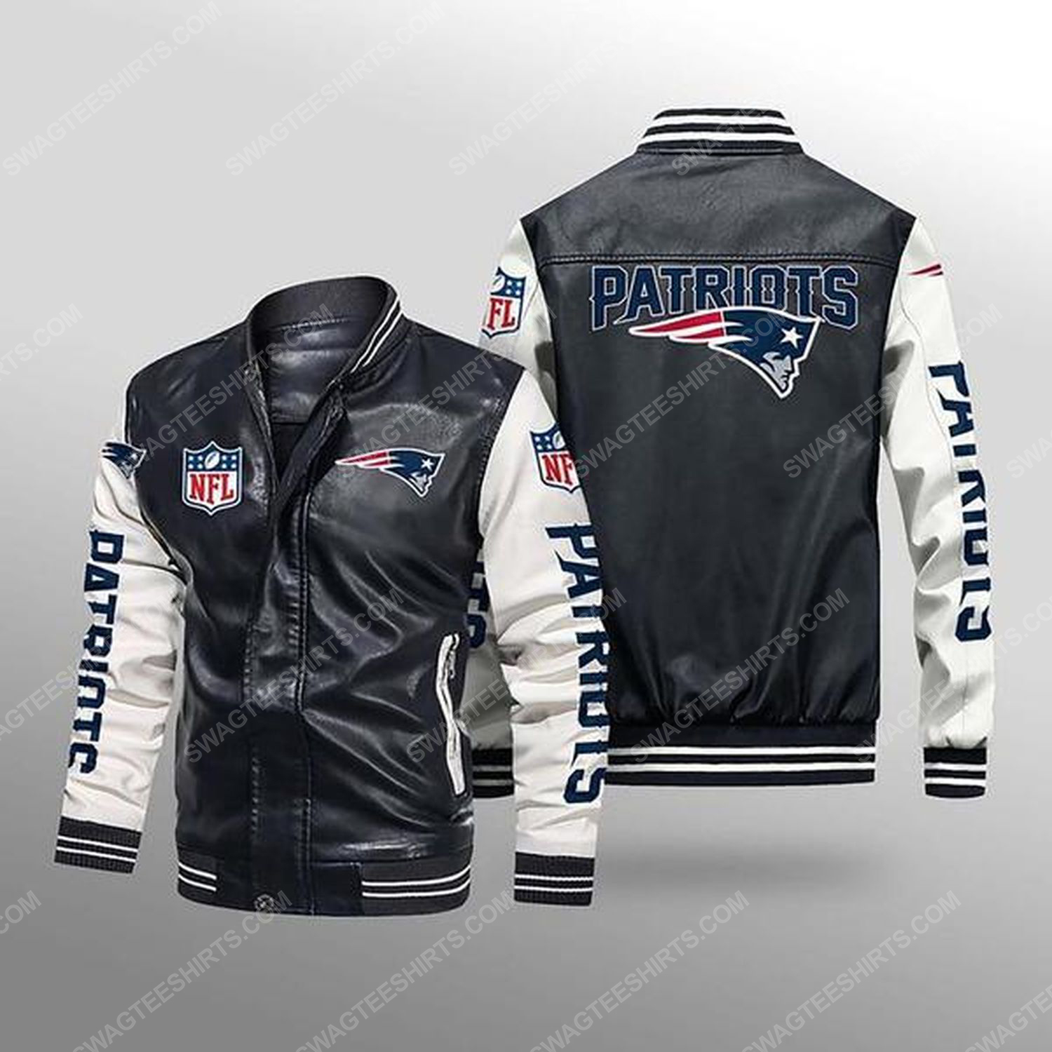 New england patriots all over print leather bomber jacket - white