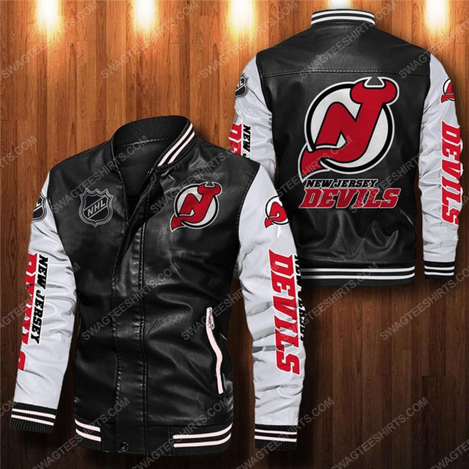 New jersey devils all over print leather bomber jacket - white