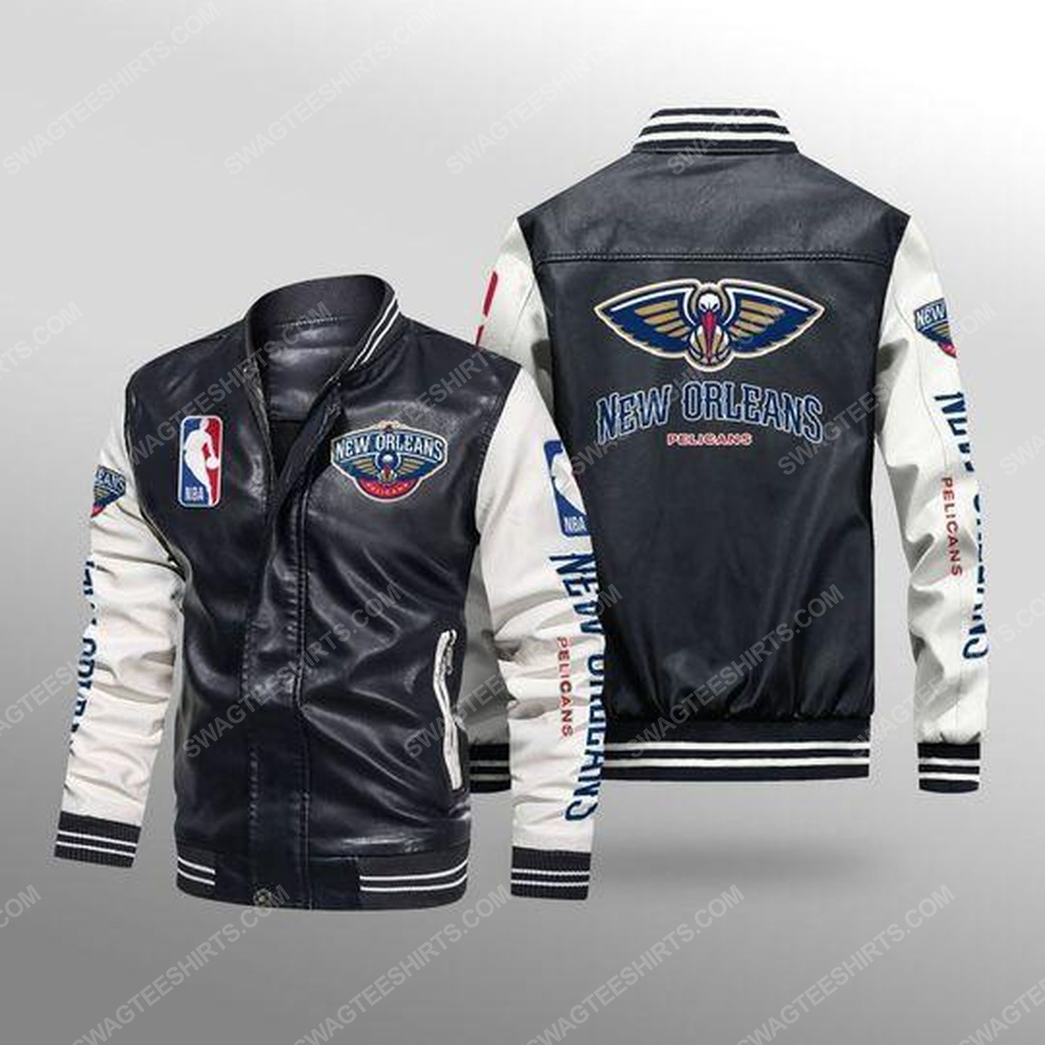 New orleans pelicans all over print leather bomber jacket - white