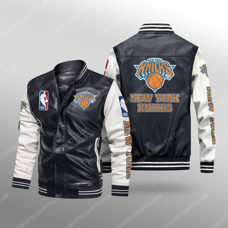New york knicks all over print leather bomber jacket - white