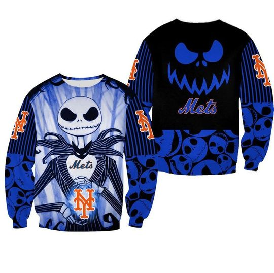 New york mets Jack skellington halloween 3d all over print hoodie - LIMITED EDITION