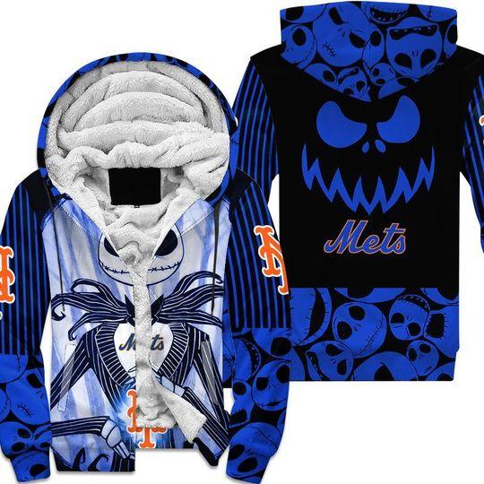 New york mets Jack skellington halloween 3d all over print hoodie4