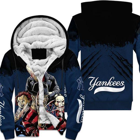 New york yankees a nightmare on elm street halloween 3d all over print hoodie4