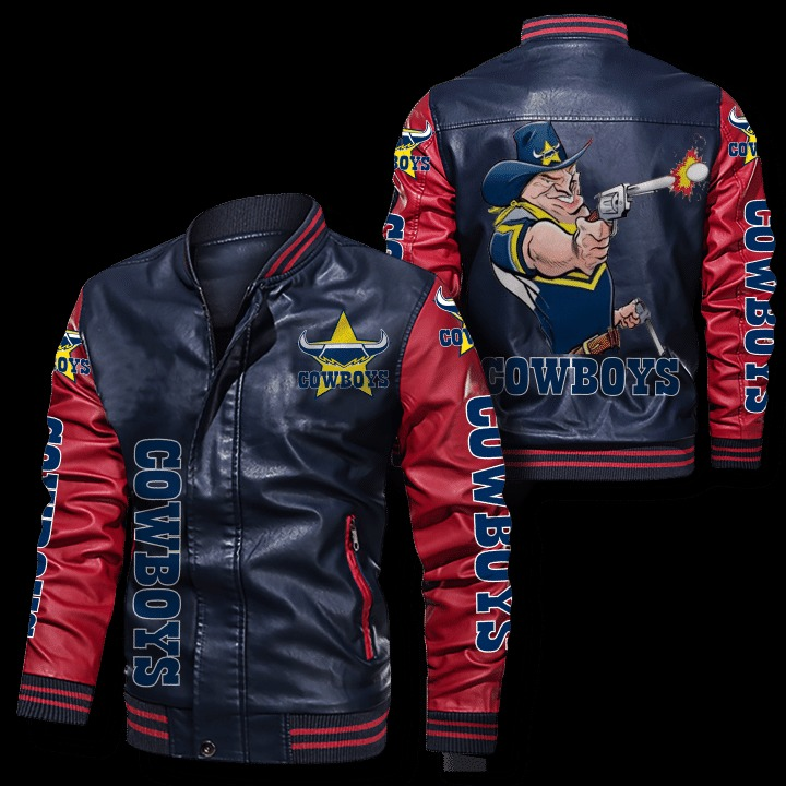 North Queensland Cowboys Leather Bomber Jacket - LIMITED EDITION
